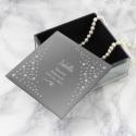 Personalised Any Message Swirls & Hearts Diamante Glass Trinket Box