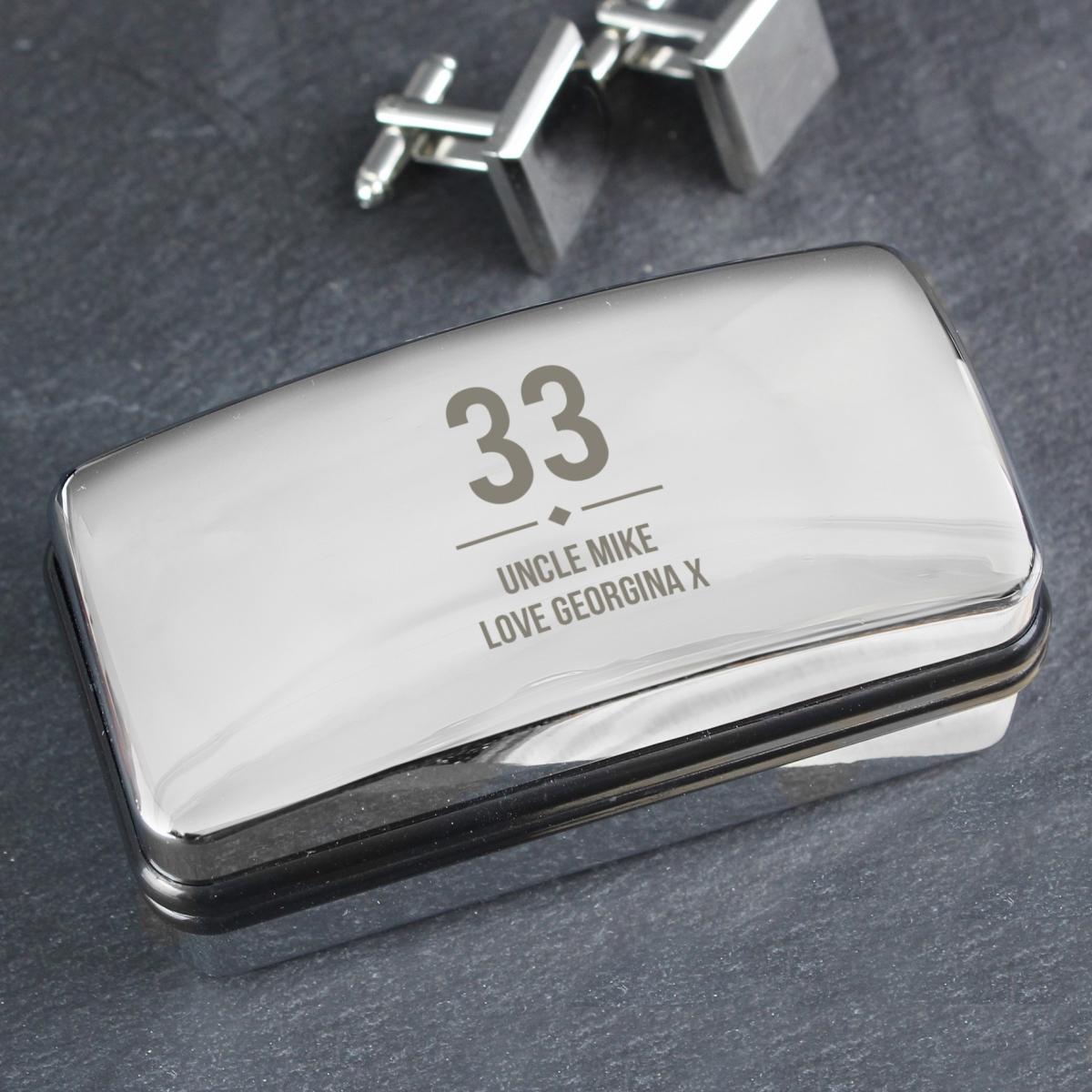 Personalised Birthday Big Age Cufflink Box