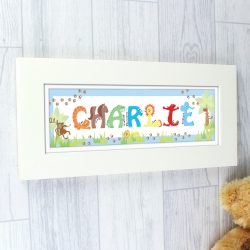 Personalised Animal Name Frame blue