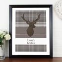 Personalised Highland Stag Black Framed Poster Print