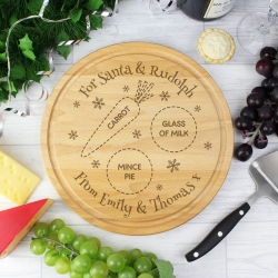Personalised Christmas Eve Round Treats Chopping Board