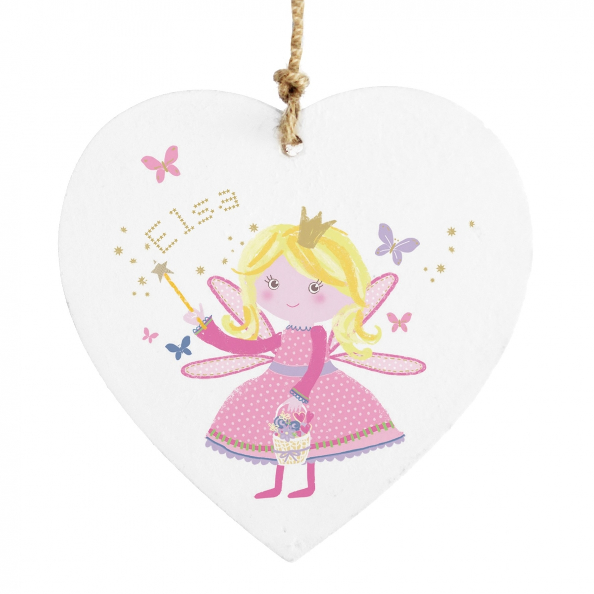Personalised Fairy Wooden Heart Decoration