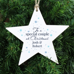 Personalised 'Special Couple' Wooden Star Decoration Keepsake
