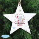Personalised Tiny Tatty Teddy My 1st Christmas Wooden Star Decoration & Keepsake