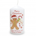 Personalised Felt Stitch Gingerbread Man Candle