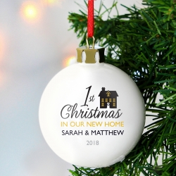 Personalised 1st Christmas In Our New Home Bauble Keepsake