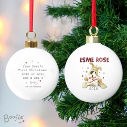 Personalised Ceramic Boofle My 1st Christmas Bauble