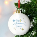 Personalised Gold & Blue Stars My 1st Christmas Bauble & Keepsake