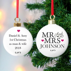 Personalised 'Mr & Mrs' Ceramic Christmas Bauble & Keepsake