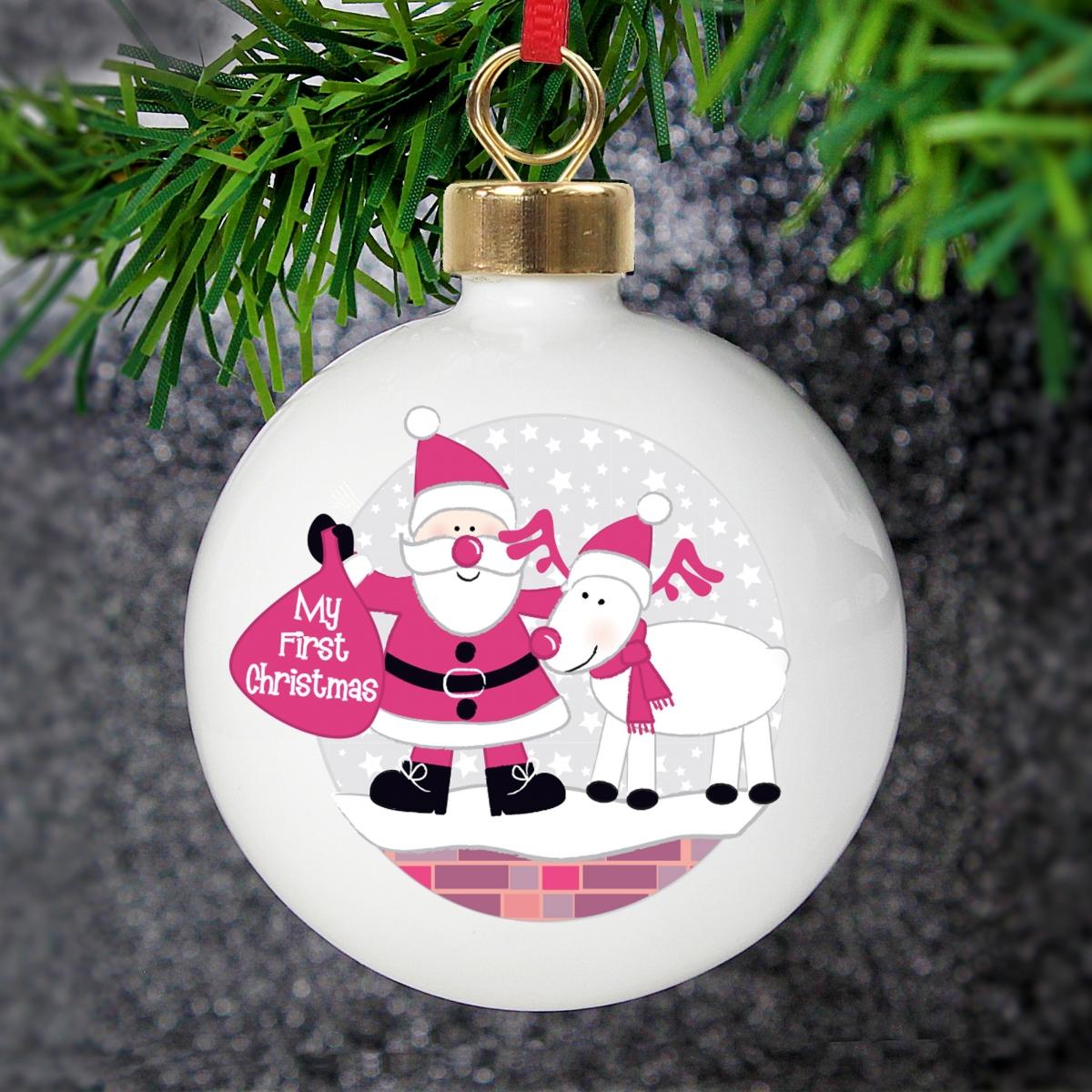 Personalised Rooftop Santa First Christmas Bauble & Keepsake