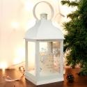 Personalised Silver Reindeer White Lantern