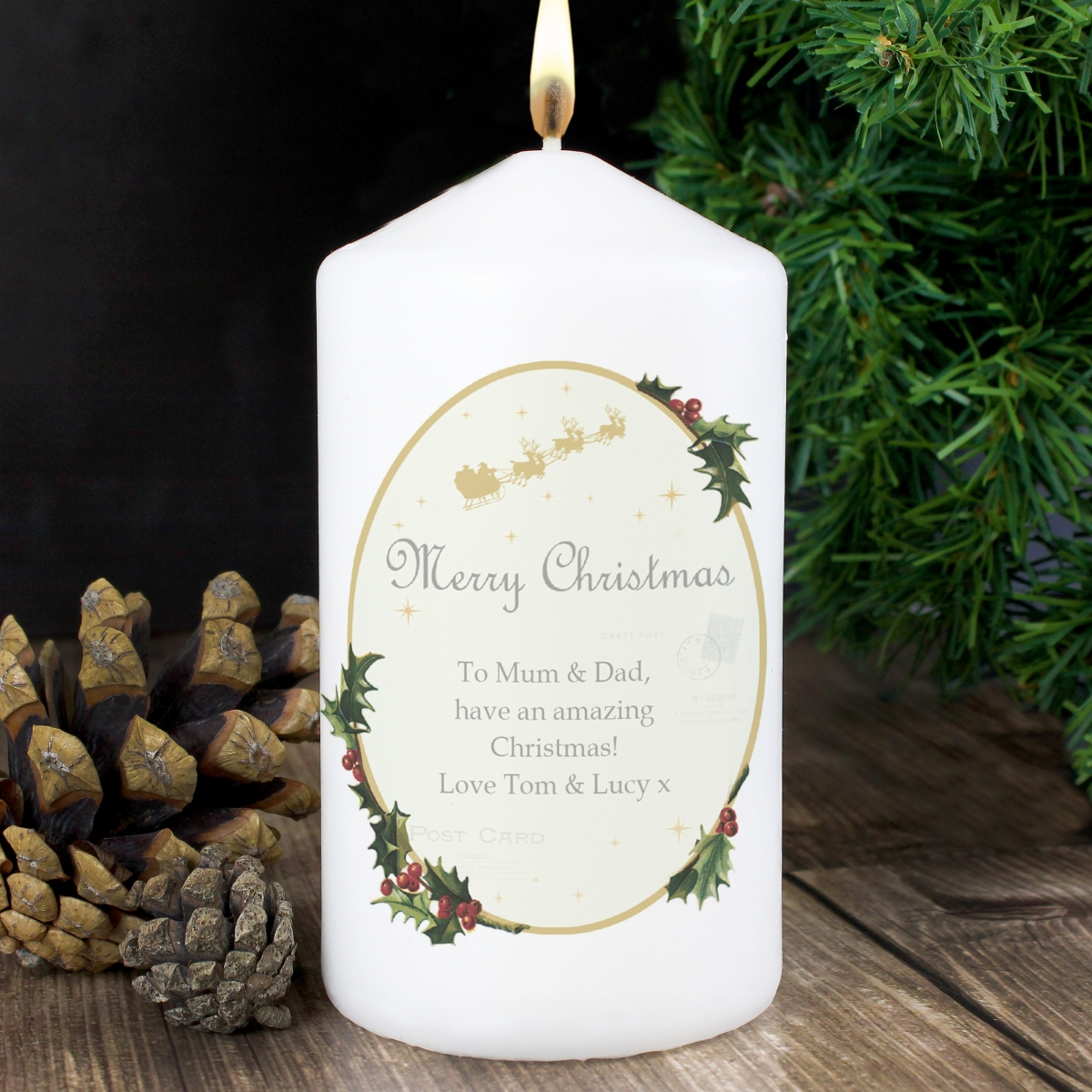 Personalised Traditional Christmas Candle