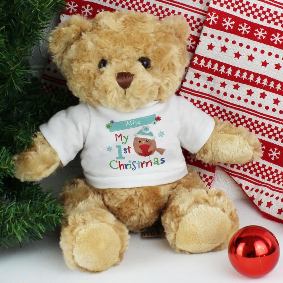 Personalised Felt Stitch Robin 'My 1st Christmas' Teddy