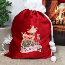 Personalised Festive Fawn Luxury Christmas Pom Pom Sack