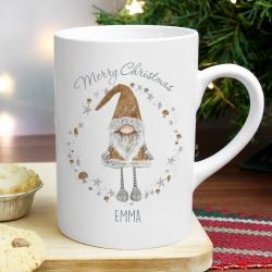 Personalised Scandinavian Christmas Gnome Slim Mug
