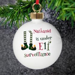 Personalised Elf Surveillance Bauble