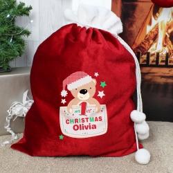 Personalised Pocket Teddy My 1st Christmas Luxury Pom Pom Sack & Christmas Keepsake
