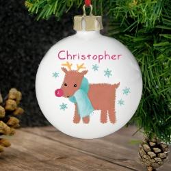 Personalised Felt Stitch Reindeer Bauble