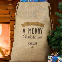 Personalised Classic Christmas Parcel Hessian Sack