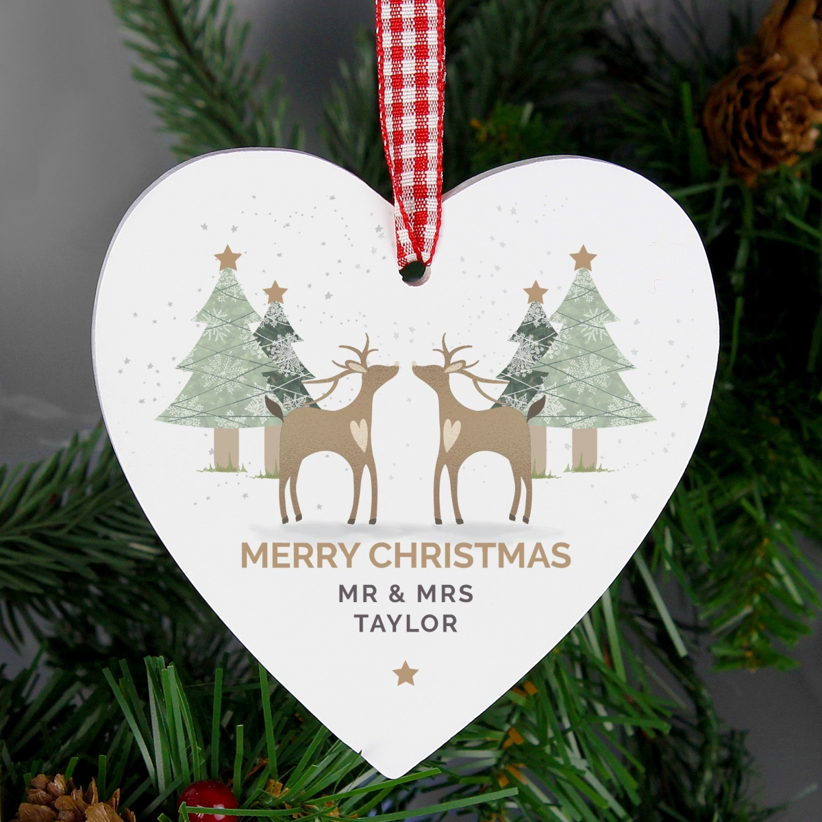 Personalised Reindeer Couple Wooden Heart Christmas Decoration & Keepsake
