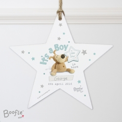 Personalised Boofle Its a Boy Wooden Star Decoration & Keepsake