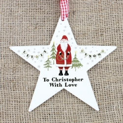 Personalised Father Christmas Wooden Star Decoration & Keepsake
