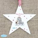 Personalised Me To You Reindeer Wooden Star Decoration & Keepsake
