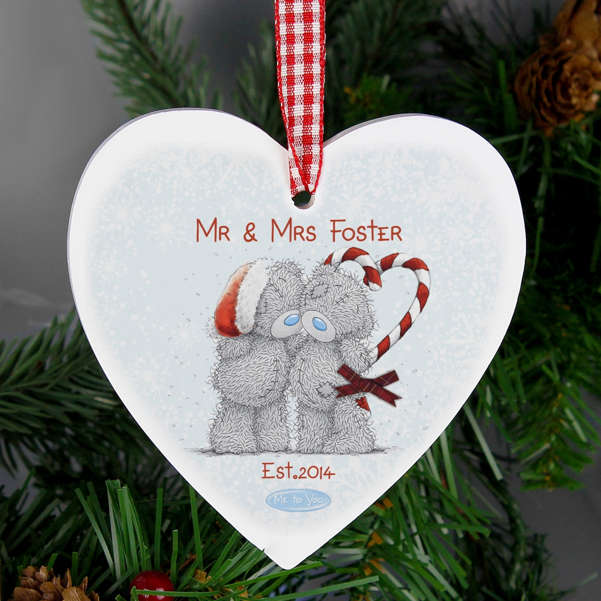 Personalised Me To You Couple Christmas Wooden Heart Decoration & Keepsake