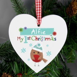 Personalised Felt Stitch Robin 'My 1st Christmas' Wooden Heart Decoration & Keepsake