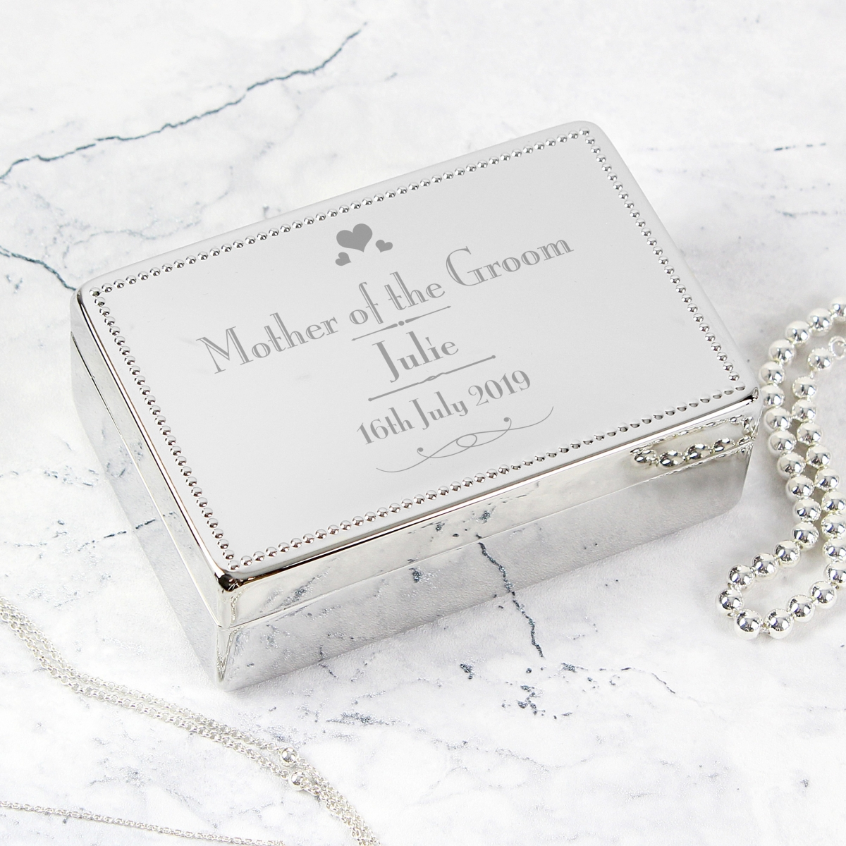 Personalised Decorative Wedding Mother of the Groom Jewellery Box