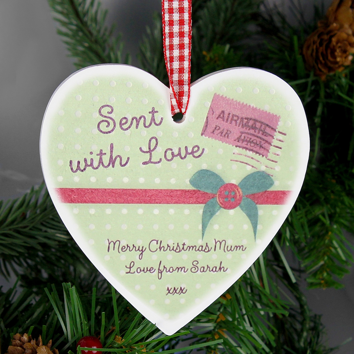 Personalised Sent With Love Wooden Heart Decoration & Keepsake