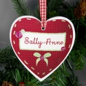 Personalised Button Name  Wooden Heart Decoration & Keepsake