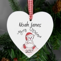 Personalised Christmas Teddy Design Wooden Heart Shaped Decoration