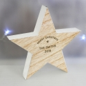 Personalised Rustic Wooden Star Decoration & Keepsake