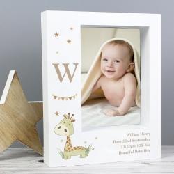 Personalised Hessian Giraffe 5x7 Box Photo Frame