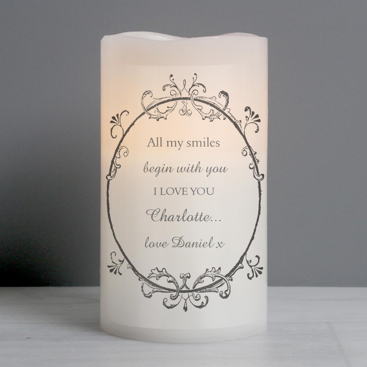 Personalised Ornate Frame LED Candle