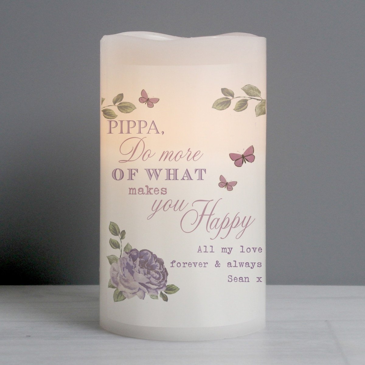 Personalised Secret Garden LED Candle