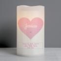 Personalised Stitch & Dot Baby Girl Nightlight LED Candle