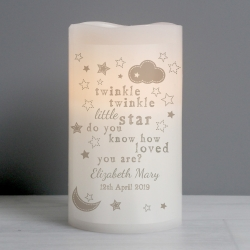 Personalised Twinkle Twinkle Nightlight LED Candle