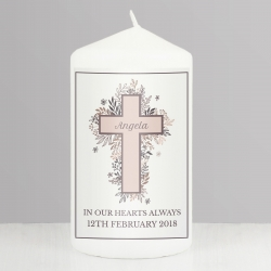 Personalised Floral Cross Pillar Candle
