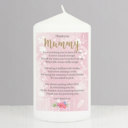 Personalised Floral Watercolour Pillar Candle