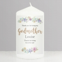 Personalised Godmother 'Floral Watercolour' Pillar Candle