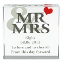 Personalised Mr & Mrs Large Crystal Token with Heart Motif