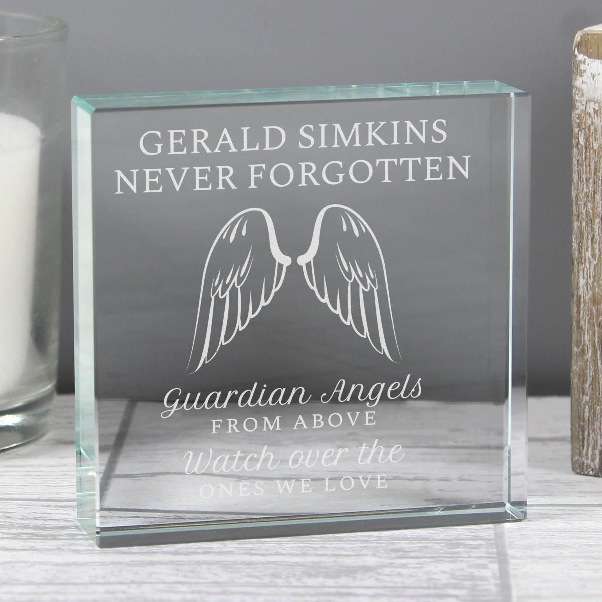 Personalised Guardian Angel Wings Large Crystal Token