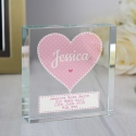 Personalised Stitch & Dot Baby Girl Large Crystal Token