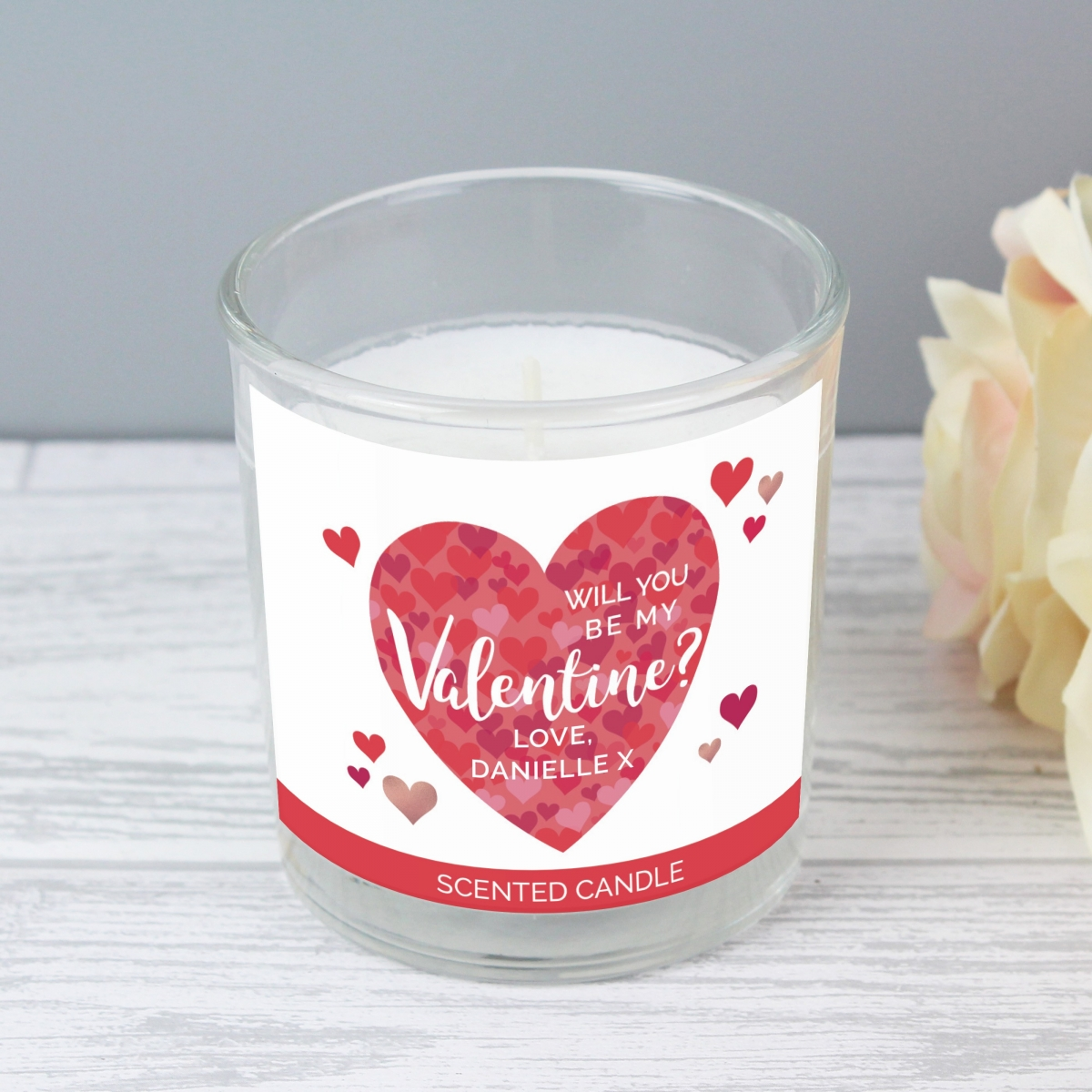 Personalised Valentine's Day Confetti Hearts Scented Jar Candle