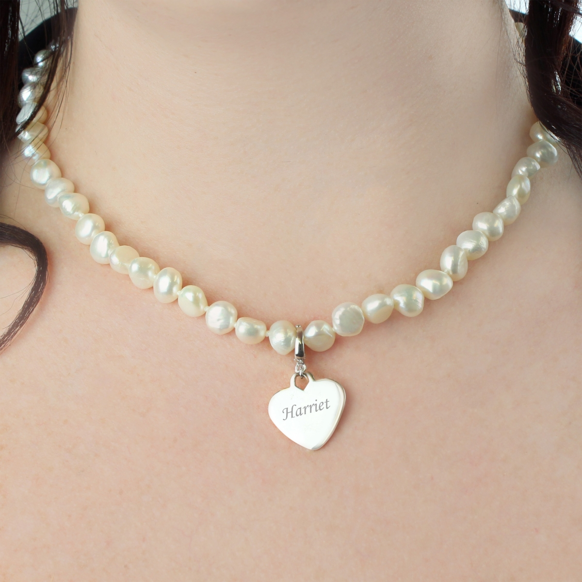 Personalised White Freshwater Pearl Scripted Name Necklace