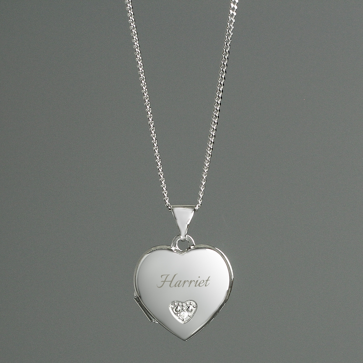 Personalised Sterling Silver and Cubic Zirconia Heart Locket Necklace (Name Only)