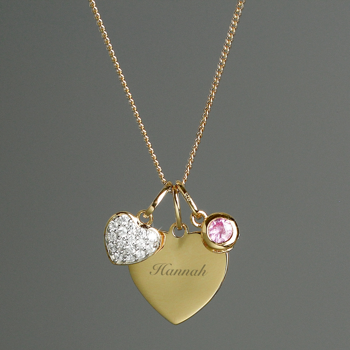 Personalised Sterling Silver and 9ct Gold Heart Necklace (Name Only)