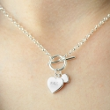 Sterling Silver Personalised Hearts T-Bar Necklace